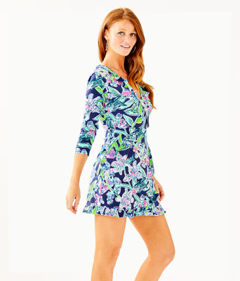Jessalynne Wrap Romper, Bright Navy Sway This Way, large 2