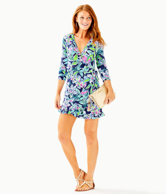 Jessalynne Wrap Romper, Bright Navy Sway This Way, large 3