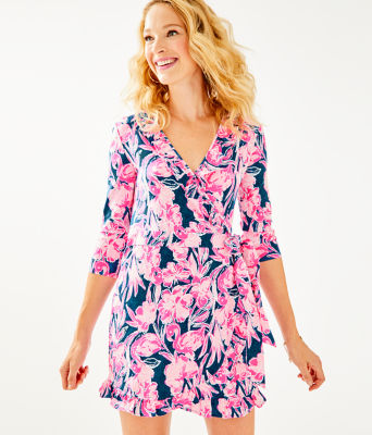 Jessalynne Wrap Romper, Inky Navy Flamingle, large 0