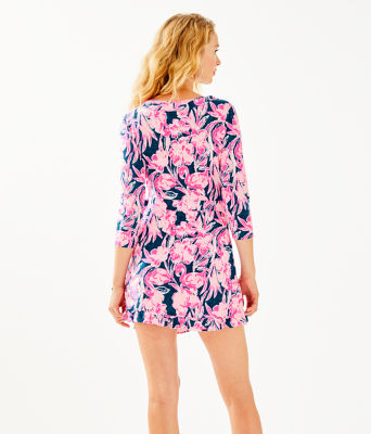 Jessalynne Wrap Romper, Inky Navy Flamingle, large