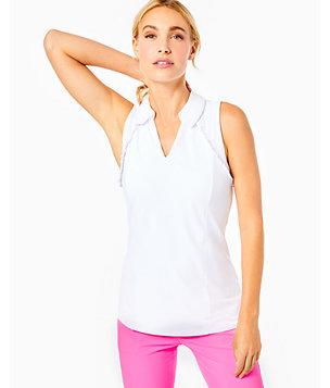 UPF 50+ Luxletic Meryl Nylon Pique Martina Sleeveless Golf Polo, Resort White, large