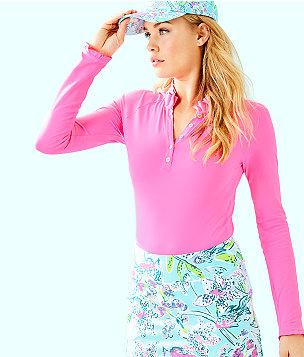 UPF 50+ Meryl Nylon Pique Hutton Long Sleeve Golf Polo, Pink Tropics, large