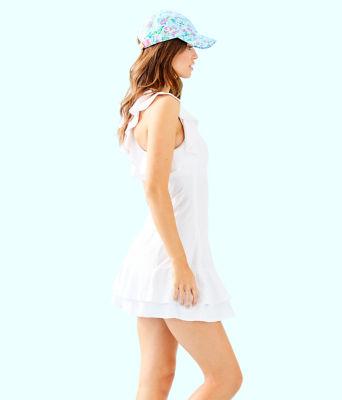 UPF 50+ Luxletic Rally Tennis Dress, Resort White Nylon Tennis Monkey Knit Jacquard, large