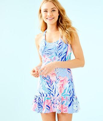 UPF 50+ Meryl Nylon Ace Tennis Dress, Crew Blue Tint Kaleidoscope Coral, large