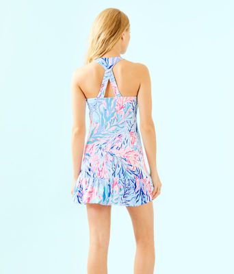 UPF 50+ Meryl Nylon Ace Tennis Dress, Crew Blue Tint Kaleidoscope Coral, large 1
