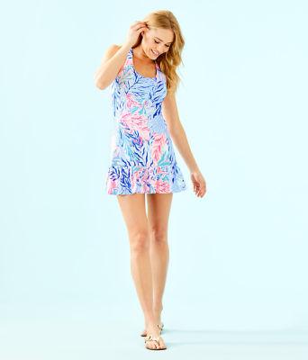 UPF 50+ Meryl Nylon Ace Tennis Dress, Crew Blue Tint Kaleidoscope Coral, large 3