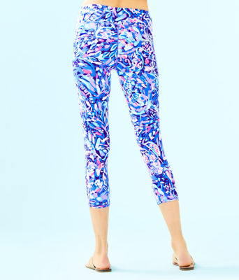 "UPF 50+ Luxletic 21"" Weekender Cropped Legging, Royal Purple Party Wave, large 1"