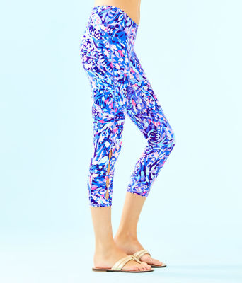 "UPF 50+ Luxletic 21"" Weekender Cropped Legging, Royal Purple Party Wave, large"