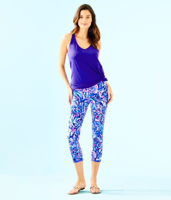 "UPF 50+ Luxletic 21"" Weekender Cropped Legging, Royal Purple Party Wave, large 3"