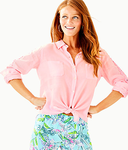 Sea View Button Down Top, Pink Tropics Tint, large 0