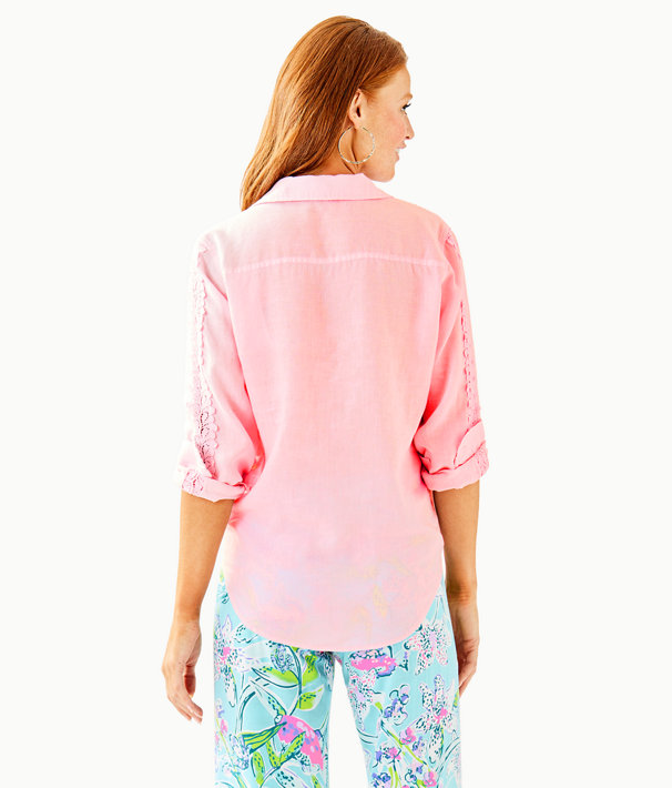 Sea View Button Down Top, Pink Tropics Tint, large