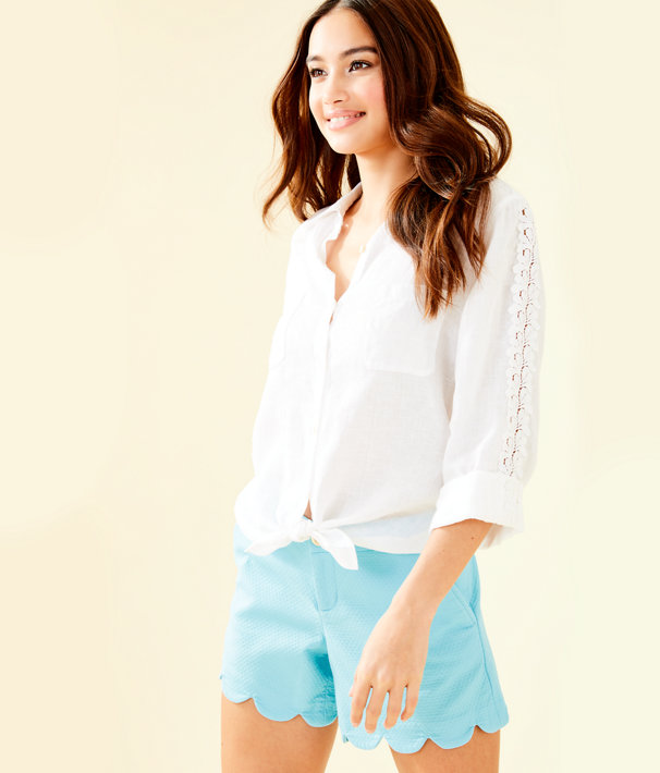 Sea View Button Down Top, Resort White, large