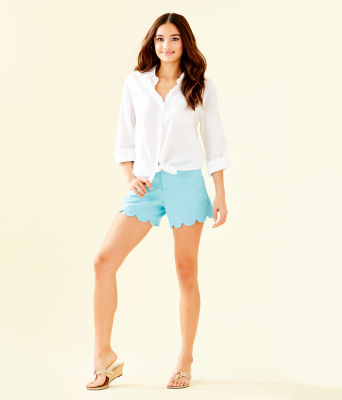 Sea View Button Down Top, Resort White, large 2