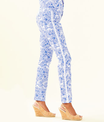 "30"" Kelly Skinny Ankle Pant, Coastal Blue Fancy Feet, large"