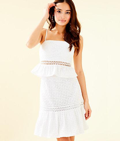 Jan Two Piece Skirt Set, Resort White Striped Eyelet, large 0