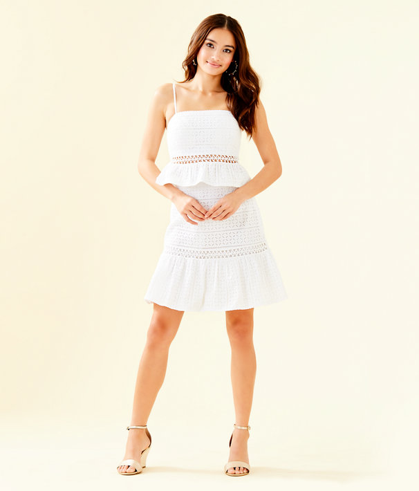 Jan Two Piece Skirt Set, Resort White Striped Eyelet, large