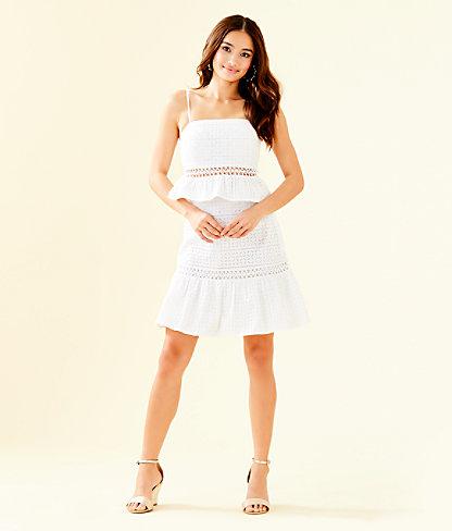 Jan Two Piece Skirt Set, Resort White Striped Eyelet, large 4