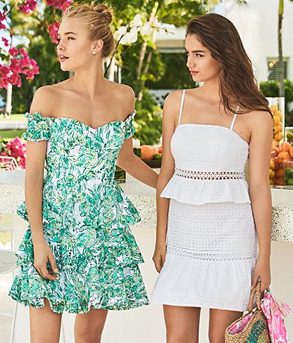 Jan Two Piece Skirt Set, Resort White Striped Eyelet, large 5