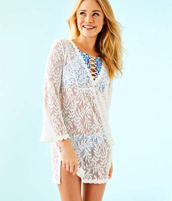 Patrice Cover-Up, Resort White Swirling Leaf Lilly Lace, large