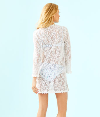 Patrice Cover-Up, Resort White Swirling Leaf Lilly Lace, large 1