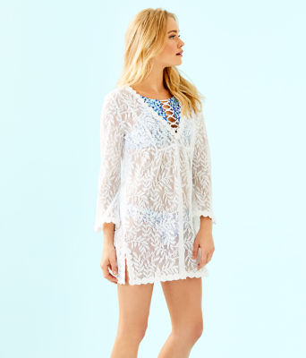 Patrice Cover-Up, Resort White Swirling Leaf Lilly Lace, large 2