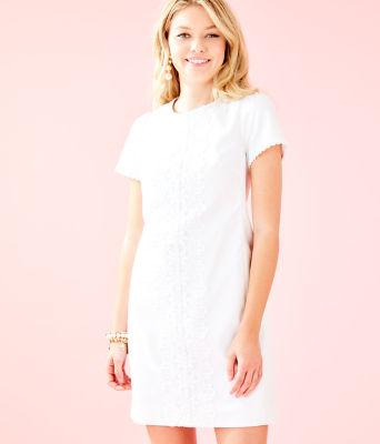 Maisie Stretch Shift Dress, Resort White, large 0