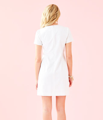 Maisie Stretch Shift Dress, Resort White, large 1
