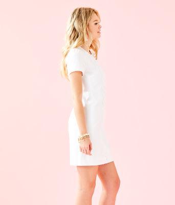 Maisie Stretch Shift Dress, Resort White, large 2