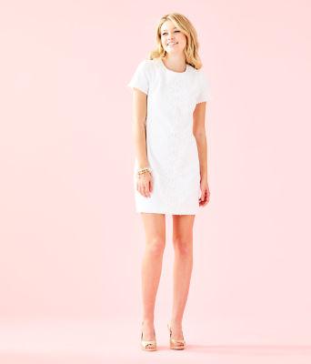 Maisie Stretch Shift Dress, Resort White, large 3