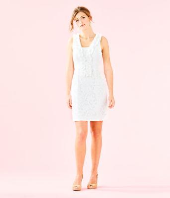Kiera Shift Dress, Resort White Floral Vines Lace, large