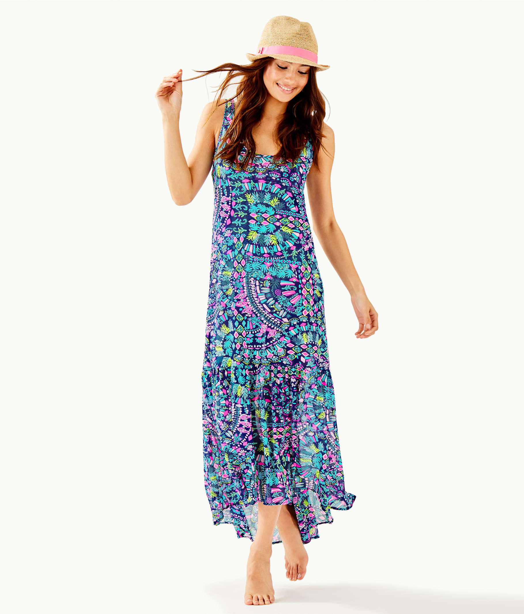 Camellia Coverup, Inky Navy Glow And Flow, large