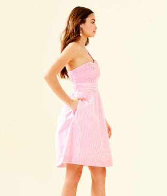 Addison One-Shoulder Dress, Pink Tropics Seersucker, large