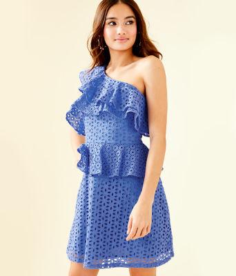Josey One Shoulder Dress, Coastal Blue Oval Flower Petal Eyelet, large 0