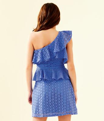 Josey One Shoulder Dress, Coastal Blue Oval Flower Petal Eyelet, large 1