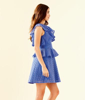 Josey One Shoulder Dress, Coastal Blue Oval Flower Petal Eyelet, large 2