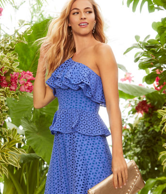 Josey One Shoulder Dress, Coastal Blue Oval Flower Petal Eyelet, large