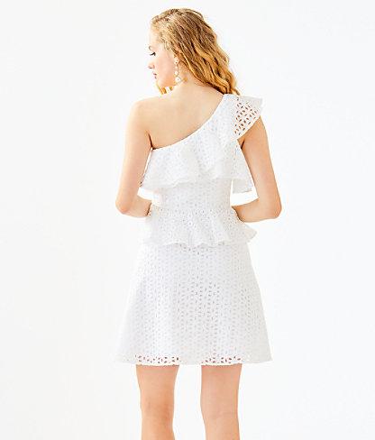 Josey One Shoulder Dress, Resort White Oval Flower Petal Eyelet, large 1