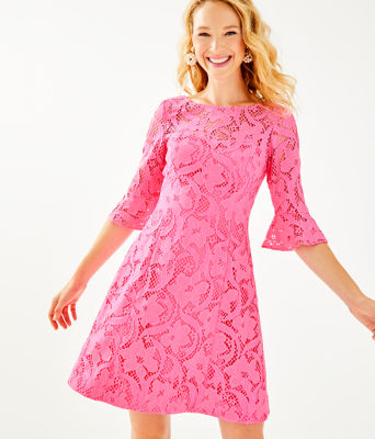 Allyson Lace Dress, Pink Tropics Floral Vines Lace, large