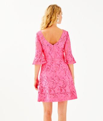 Allyson Lace Dress, Pink Tropics Floral Vines Lace, large 1