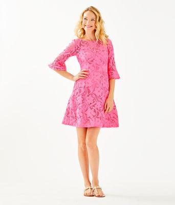Allyson Lace Dress, Pink Tropics Floral Vines Lace, large 3