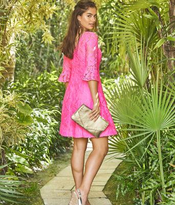 Allyson Lace Dress, Pink Tropics Floral Vines Lace, large 4