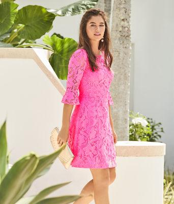Allyson Lace Dress, Pink Tropics Floral Vines Lace, large 5