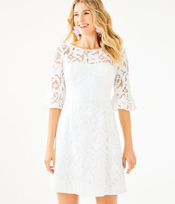 Allyson Lace Dress, Resort White Floral Vines Lace, large
