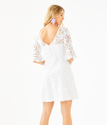 Allyson Lace Dress, Resort White Floral Vines Lace, large 1