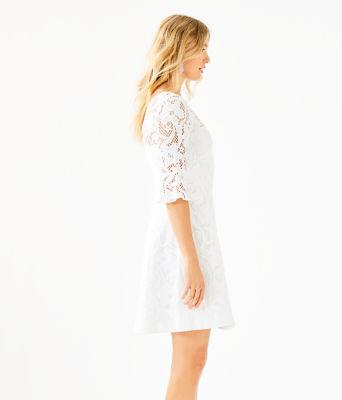 Allyson Lace Dress, Resort White Floral Vines Lace, large 2
