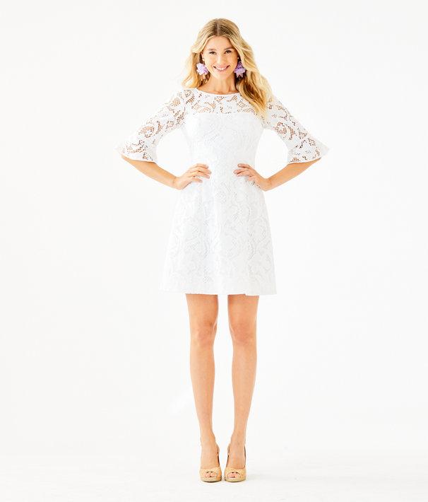 Allyson Lace Dress, Resort White Floral Vines Lace, large