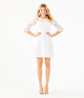 Allyson Lace Dress, Resort White Floral Vines Lace, large 3
