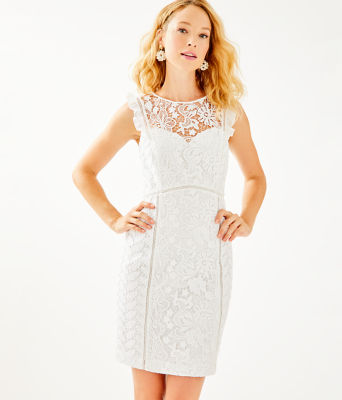 Maya Shift Dress, Resort White Floral Lace, large