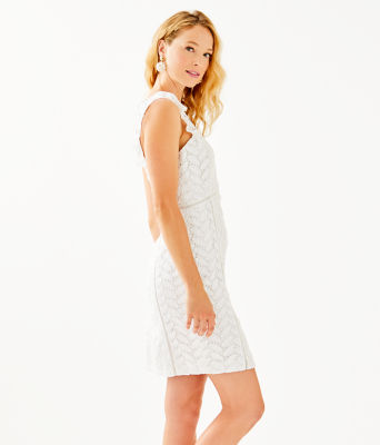 Maya Shift Dress, Resort White Floral Lace, large 2