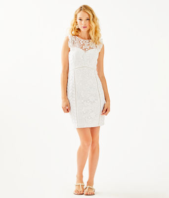 Maya Shift Dress, Resort White Floral Lace, large